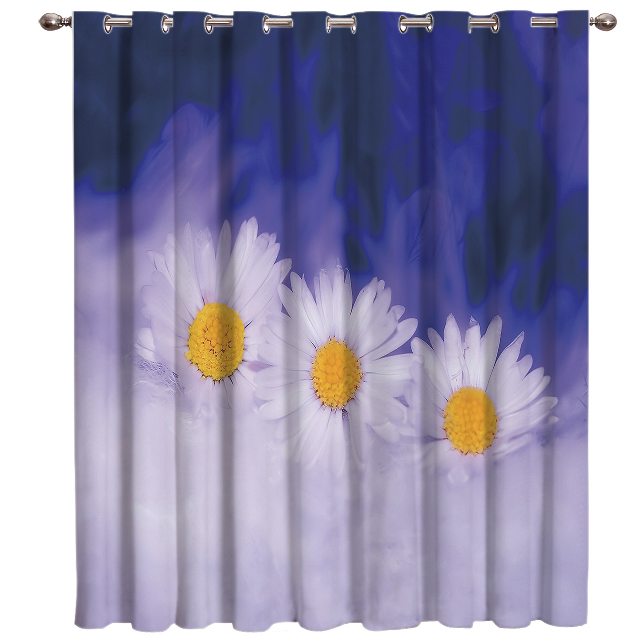 Purple Daisy Room Curtains Large Window Living Room Blackout Bedroom Kitchen Outdoor Decor Curtain Panels With Grommets Curtains