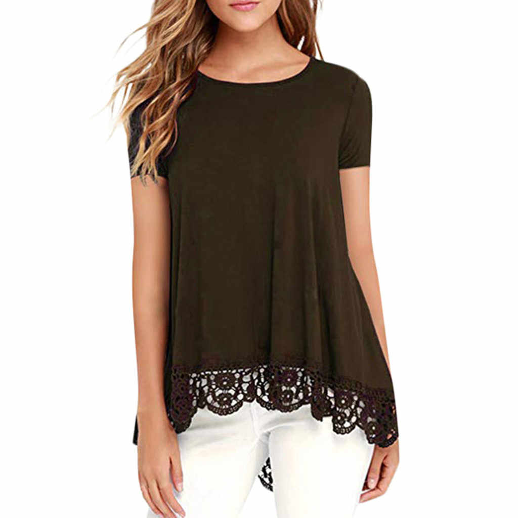 64b43358907c ... NEW Fashion Women Ladies Casual O-Neck Short Sleeve Loose Lace  Patchwork Tops Tunic Summer ...