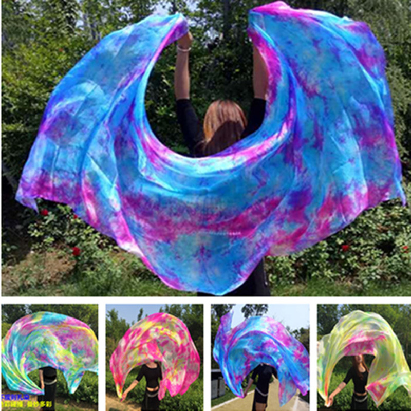 New Tie-dye Dancing 100% Real Silk Veils Nice Gradient Color Silk Hand Scarfs For Dancing Stage Performance 2.5x1.14M Size