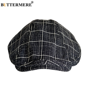 Image 2 - BUTTERMERE Cotton Flat Caps For Men Houndstooth Black Beret Male Casual Uv Duckbill Ivy Cap Vintage Autumn Mens Directors Hat
