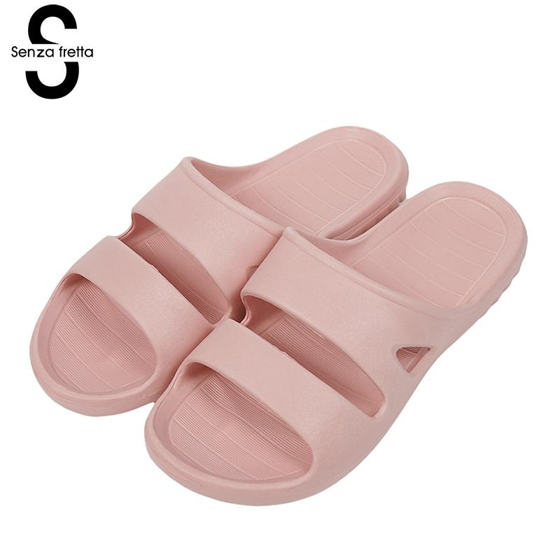 Senza Fretta Women Shoes Home Soft Slippers Non-slip Flat Bottom Slippers Eva Indoor Sandals Bath Slipper Indoor Floor Shoes women floral home slippers cartoon flower home shoes non slip soft hemp slippers indoor bedroom loves couple floor shoes
