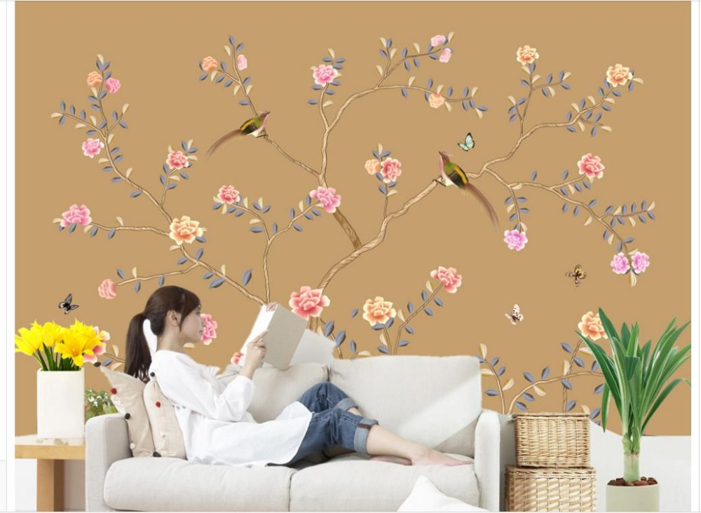 ФОТО Home Decoration Meticulous hand-painted wall paintings of birds and flowers wallpaper 3d flower