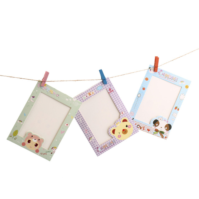 9 Pcs 6″ Cartoon Animal Hanging Album Photo Frame Clips Rope Wall Decor Gift