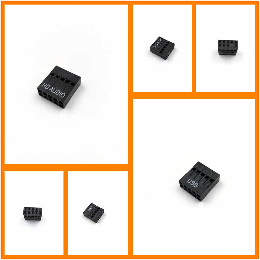 2.54mm Pitch Spacing Motherboard USB or HD AUDIO Female 2 X 5Pin Connector Housing