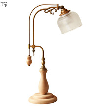 American Country Nordic Simple Solid Wood Desk Lamp Led Bedroom Bedside Living Room Reading Study Creative Modern Table Lamps цена и фото