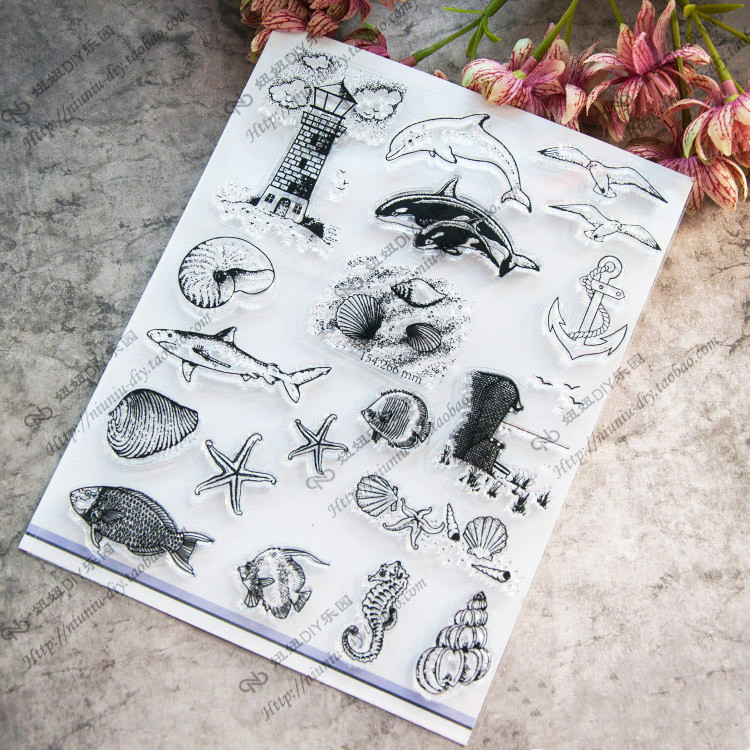 Ocean World Dolphin Starfish Conch Scrapbook DIY photo cards account rubber stamp clear stamp transparent stamp 14x18cm SD450 scrapbook diy photo cards account rubber stamp clear stamp finished transparent chapter wall decoration 15 18