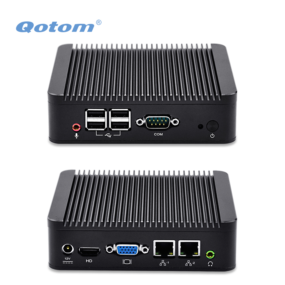 Prix pour 2 Ethernet Mini PC Core i3 processeur, double LAN Mini PC avec port Série, QOTOM Mini PC Linux