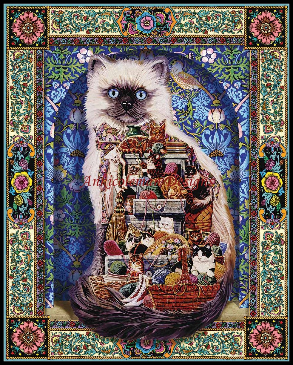 Cats Galore - Counted Cross Stitch Kits - DIY Handmade Needlework for Embroidery 14 ct Cross Stitch Sets DMC ColorCats Galore - Counted Cross Stitch Kits - DIY Handmade Needlework for Embroidery 14 ct Cross Stitch Sets DMC Color