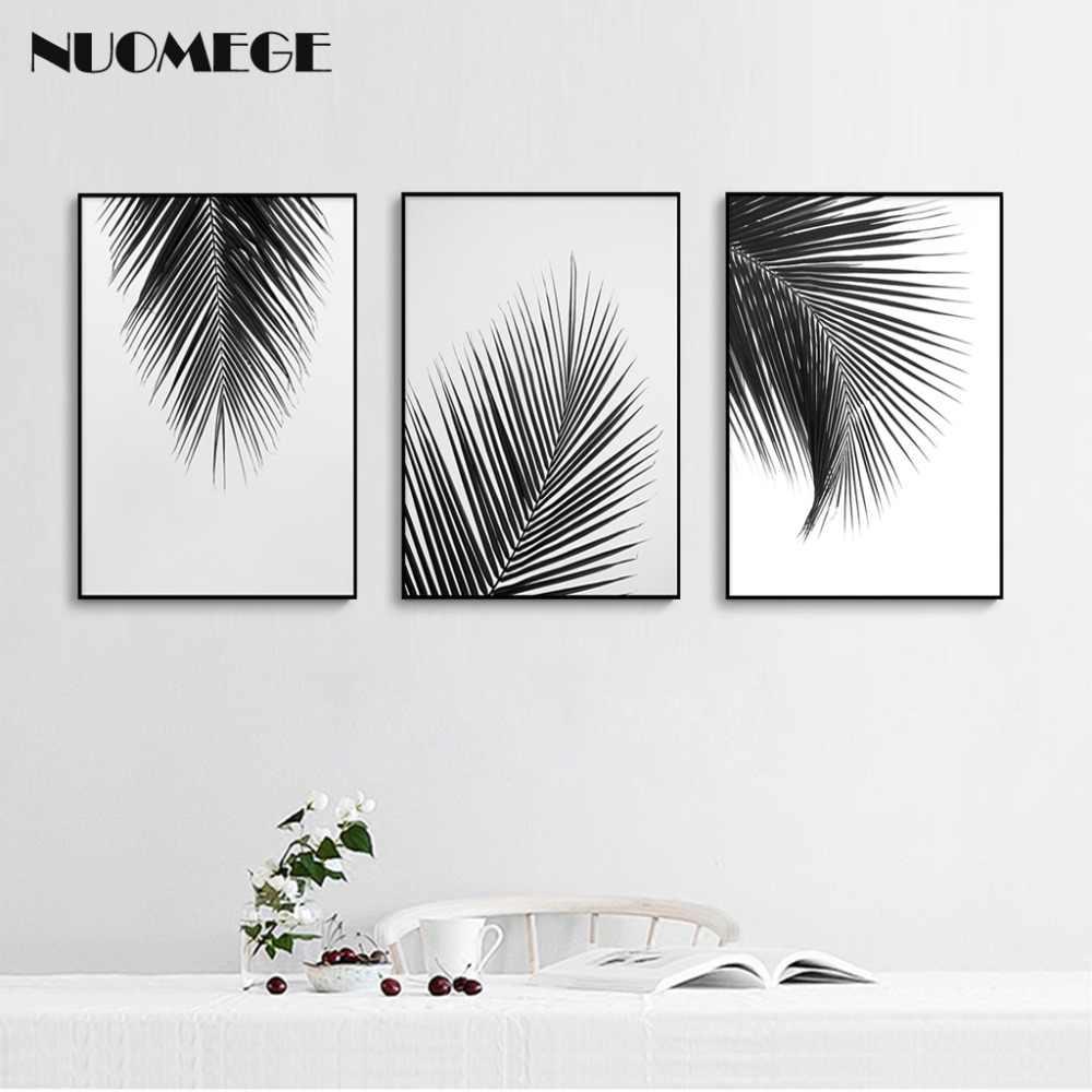 Nordic Style Hitam Putih Kanvas Lukisan Pohon Palem Daun Poster Dan Cetakan Dinding Gambar Seni Modern Dekorasi Dinding Ruang Tamu Painting Calligraphy Aliexpress