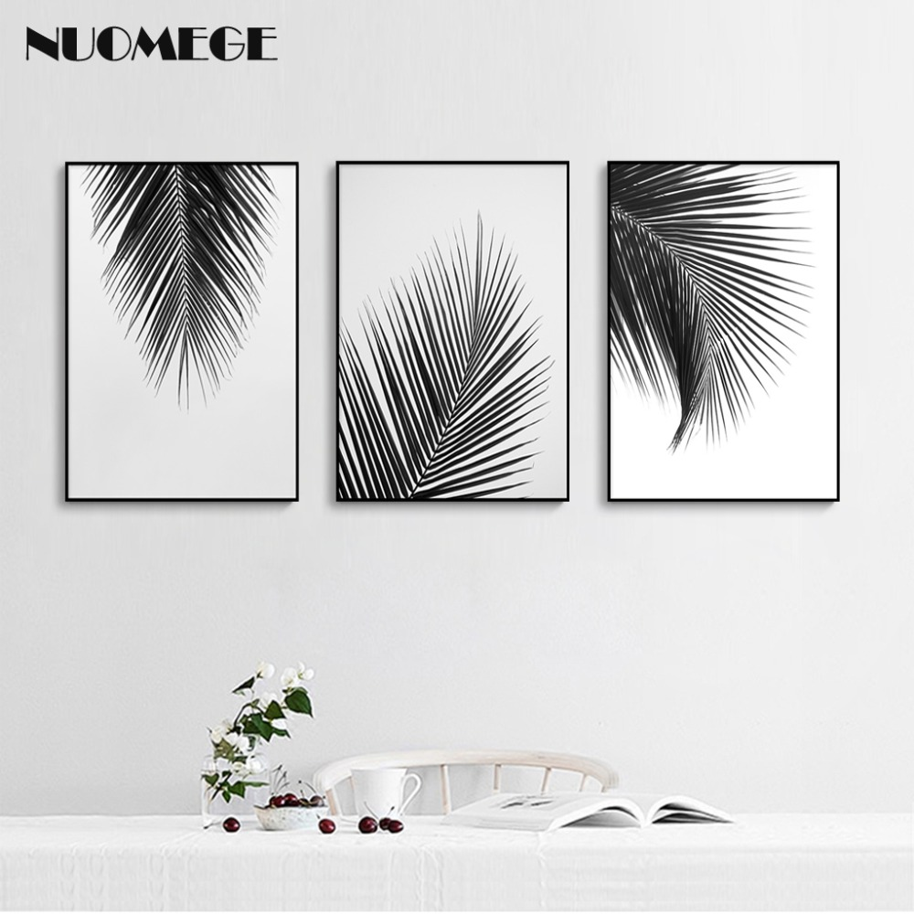 Black And White Canvas Pictures Us 3 53 41 Off Nordic Style Black White Canvas Painting Palm Tree Leaves Posters And Prints Wall Art Picture Modern Living Room Wall Decor In