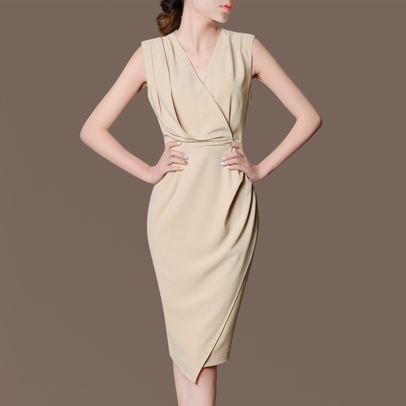 Woman Summer Hot Sale Solid V neck Sleeveless Mid calf 100% Silk Silk A line Dresses Female Hedging Ruffles Silk Dress