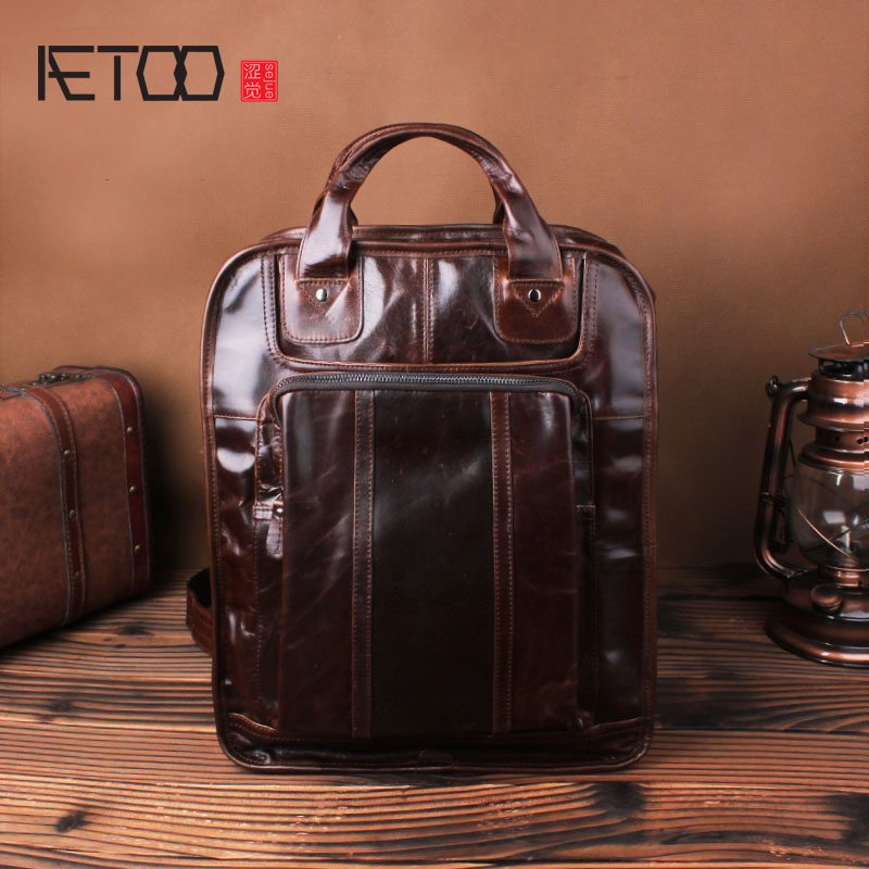 AETOO Shoulder bag male leather retro oil wax cowhide shoulder shoulder business casual computer bag travel backpack slow head layer cowhide handbag retro oil wax bag leather bag travel bag