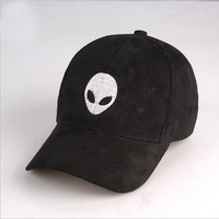 High Quality Aliens Outstar Saucer Space E T UFO Fans Black Suede Fabric Snapback Baseball Cap