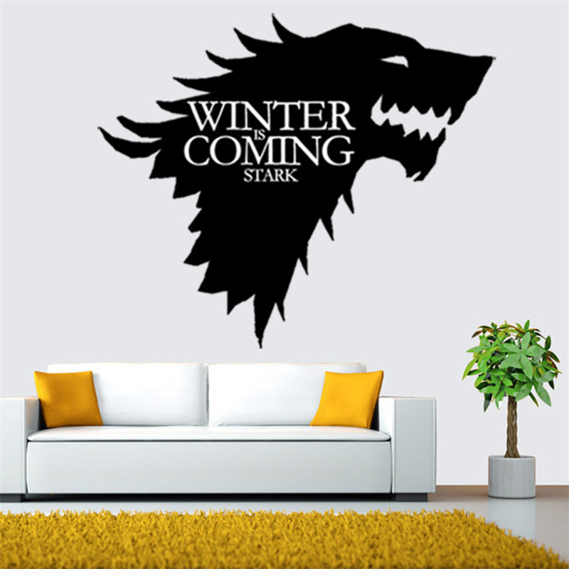 Direwolf design graphic vinyl wall sticker the Sigel of Stark family from Game of Thrones wall decal murals pegatinas de pared