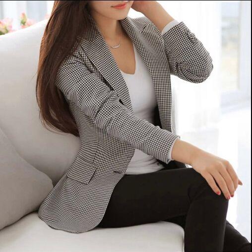 Novas Mulheres Blazer 2017 Primavera Fino OL Desgaste do Trabalho Blazer Entalhado Xadrez Simples Do Vintage Vestidos Casuais Casaco H352