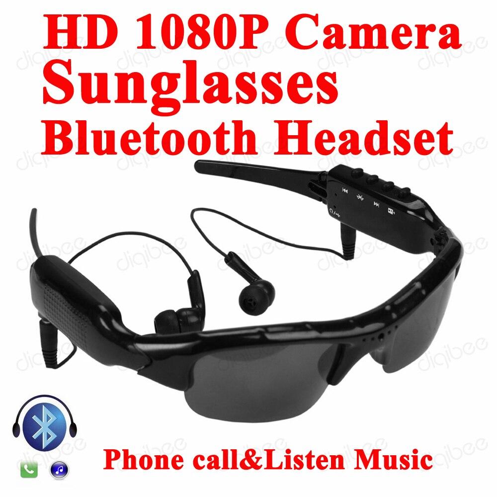 Multi-Fonction MP3 Bluetooth Casque Écouteur avec Microphone lunettes de Soleil  Caméra 1080 P Enregistreur Vidéo Numérique Mini Caméra Lunettes d0eb0ab086d9