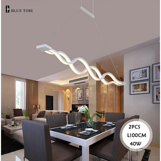 BLUE TIME L100CM 120cm New Creative Modern LED Pendant Lights Wave Hanging Lamp Dining Room Living Room Pendant Light 110V 220V