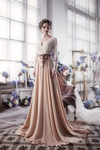 Champagne Long Sleeve Lace Wedding Dresses With Sash Romantic Gowns Shopping Sales Online Vestido De Noiva 2016 W1124K