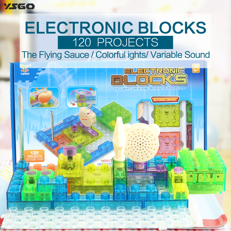 44PCS Electric Discover Lighted Bricks 120 Projects Electronic Circuits Building Blocks Physics Science Kits Educational Toys goodman troubleshooting &amp repairing electronic circuits 2ed pr only