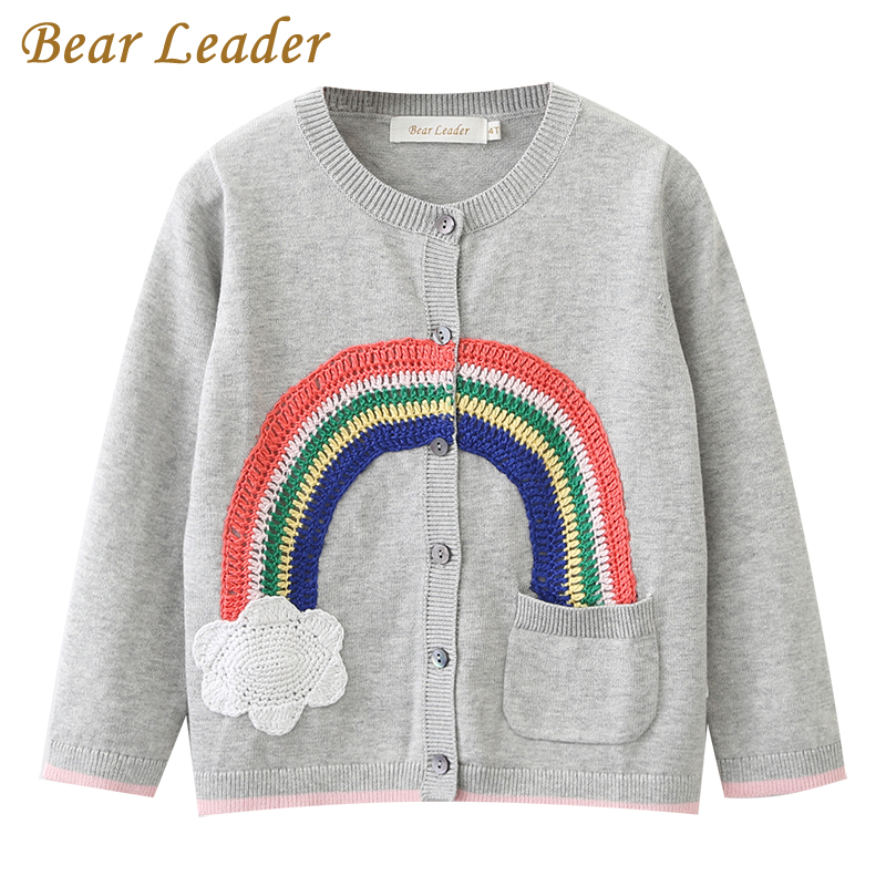 Bear Leader Girls Clothing 2017 Autumn Spring Children Sweaters Rainbow Pattern Long Sleeve Outerwear O-neck Kids Knitwear 3-7Y