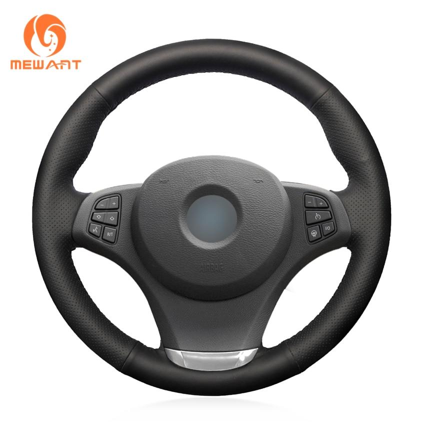 цена на MEWANT Black Genuine Leather Black Suede Car Steering Wheel Cover for BMW E83 X3 2003-2010 E53 X5 2004-2006