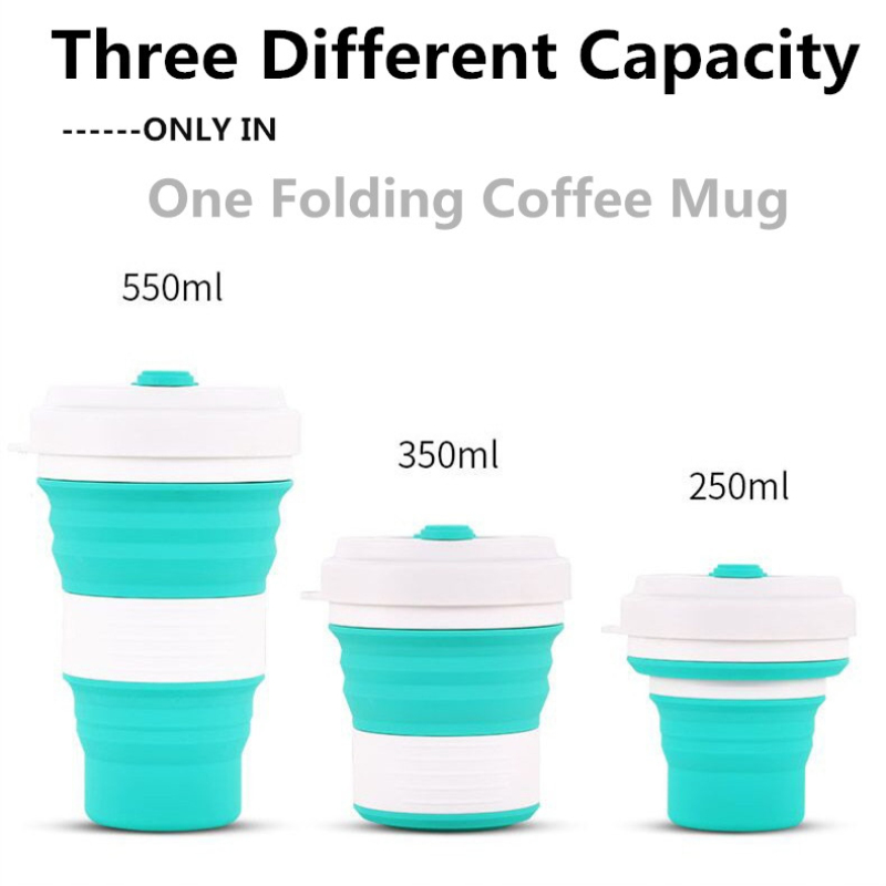 550ml Folding Silicone Tea Cup Travel Portable Heat Protection Water Cup Silica Coffee Mug Telescopic Collapsible Drinking Mugs Кубок