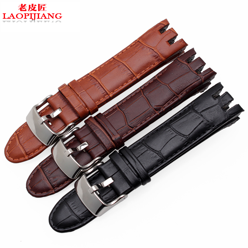 Genuine Leather straps for swatch YRS403 412 402G series head layer cowhide crocodiling 21mm watchband for men with tools
