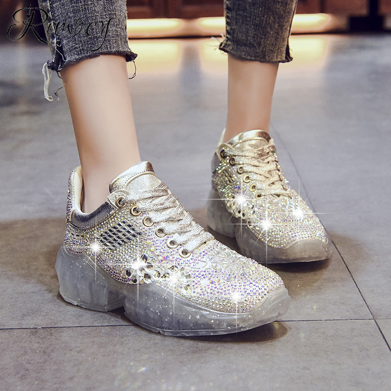 Rimocy women bling sneakers fashion crystal transparent PVC soles breathable vulcanize shoes woman lace up platform casual shoesRimocy women bling sneakers fashion crystal transparent PVC soles breathable vulcanize shoes woman lace up platform casual shoes