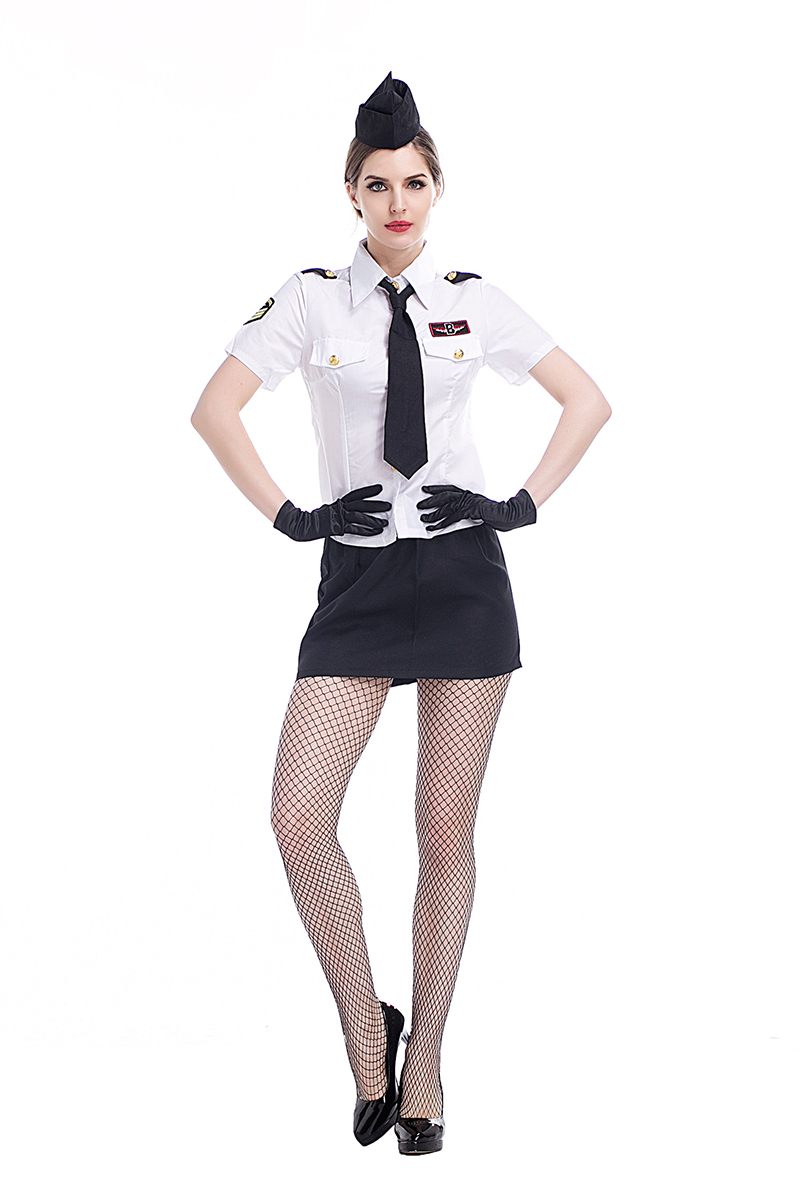 Adult Women Sexy Air Hostess Uniform Flight Stewardess Costume Navy Shirt Shorts Skirt -3724