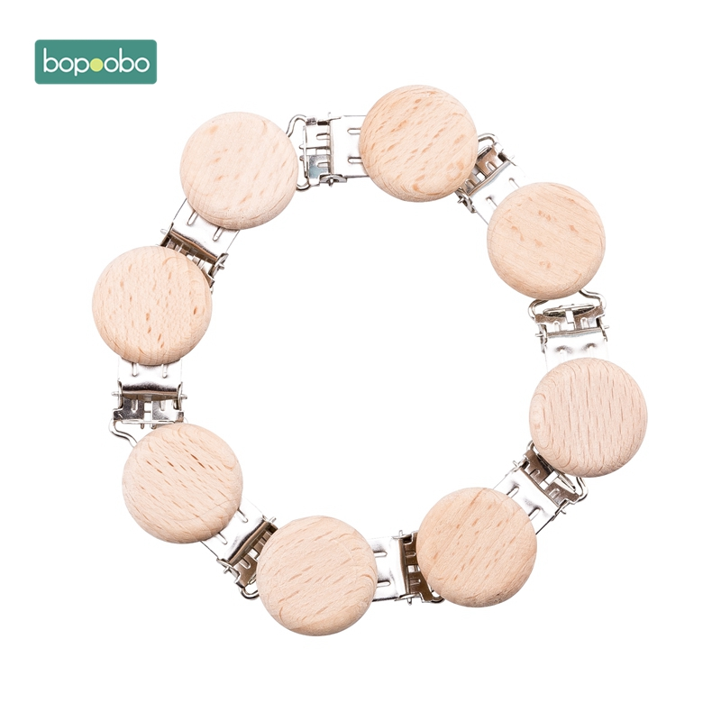 Bopoobo Metal Beech  Round Wooden Teethers Pacifier Clip DIY Accessories Pacifier Holders  Holder Safe Teethers Baby Shower Gift