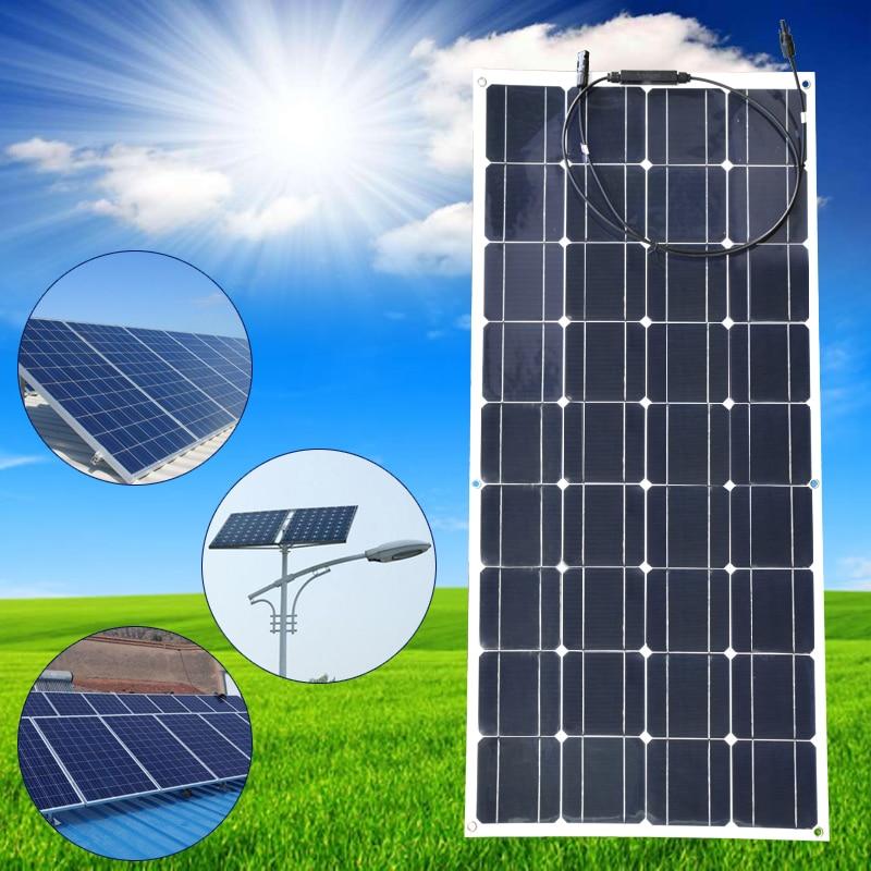 20 в 100 Вт монокристаллическая солнечная панель полугибкая эффективная Панель Солнечное модульное зарядное устройство для RV лодки 12 в зарядное устройство