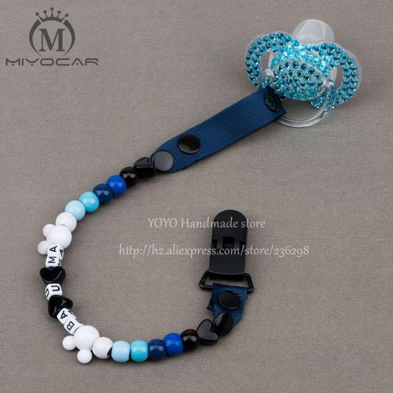 MIYOCAR Personalised -Any name 2016 Hand made blue white beads dummy clip holder pacifier clips soother chain for baby