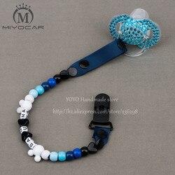 Miyocar personalizado-qualquer nome 2016 feito à mão azul branco contas manequim clipe titular chupeta clipes chupeta chupeta corrente para o bebê