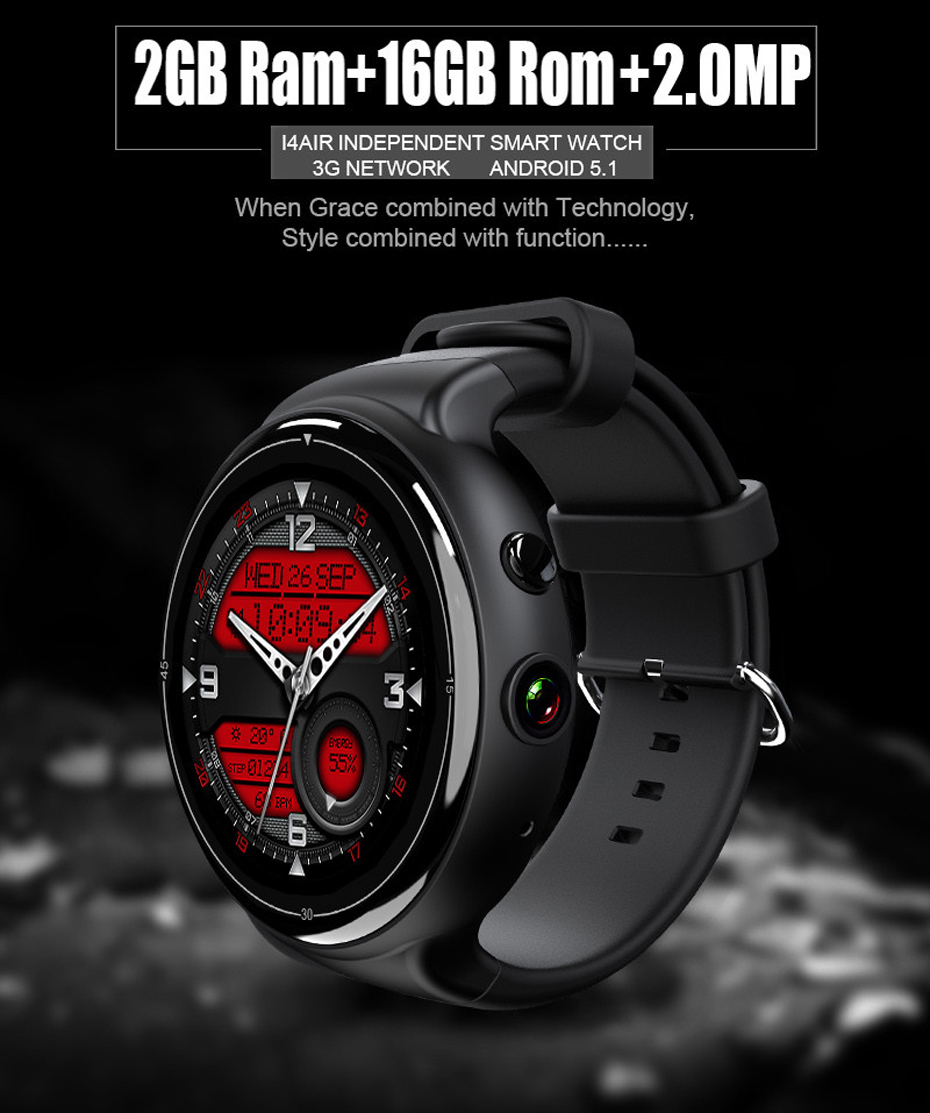 2017 New I4 Air Smart Watch 2MP Camera 2GB/16GB MTK6580 Android 5.1 Bluetooth GPS WiFi 3G Smartwatch Phone For Android&IOS цена