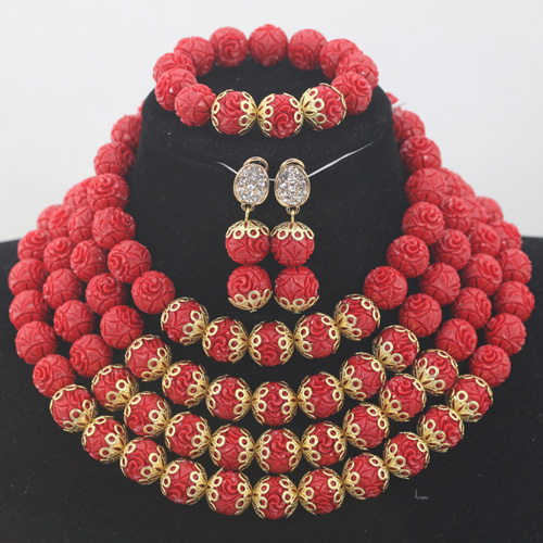 Fashion Wine Red Coral Beads Jewelry sets GoldPlated African Wedding Bridal/Women Beads Necklace Jewelry Set Free Shipping CJ829