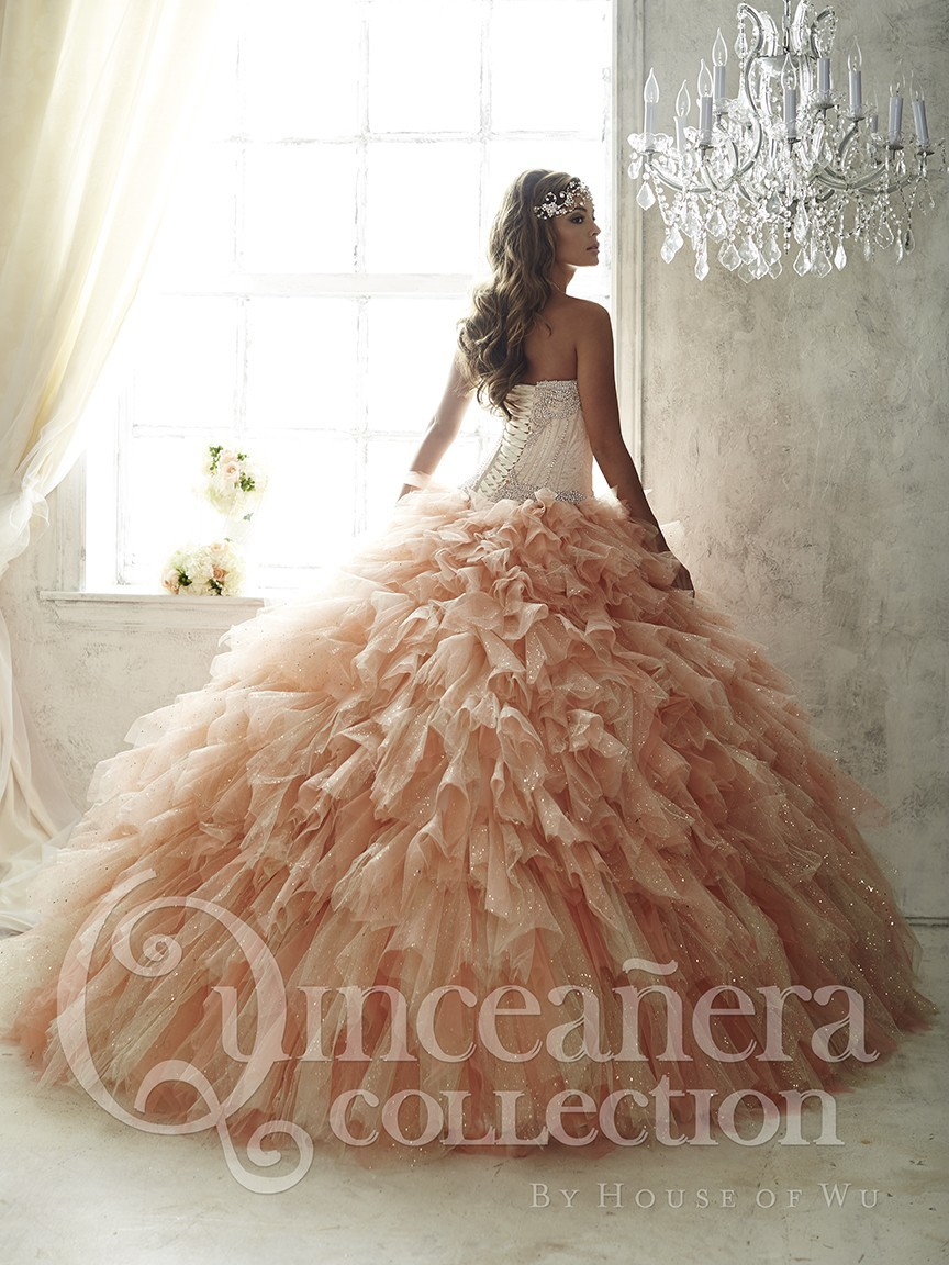 2016 Quinceanera Dresses Champagne Crystal Bead Corset Masquerade Dress  Vestido de 15 nos Fluffy Split Front Debutante Gown -in Quinceanera Dresses  from ... 7b428caa7881