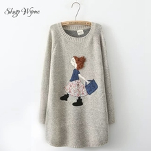 Shugo Wynne Mori Girl Pullovers 2017 Winter Women New Arrival Lovely Girl Patch O-neck Long Sleeve Casual Long Knitted Sweaters