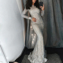 new hot womens sequin dress silver round long-sleeved bag hip bohemian style mermaid