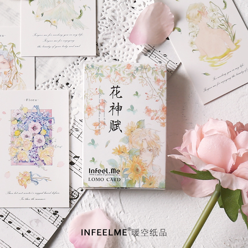 28 Sheets/Set Beautiful Flower And Girl Lomo Card Cartoon Mini Postcard Message Card Christmas Gifts