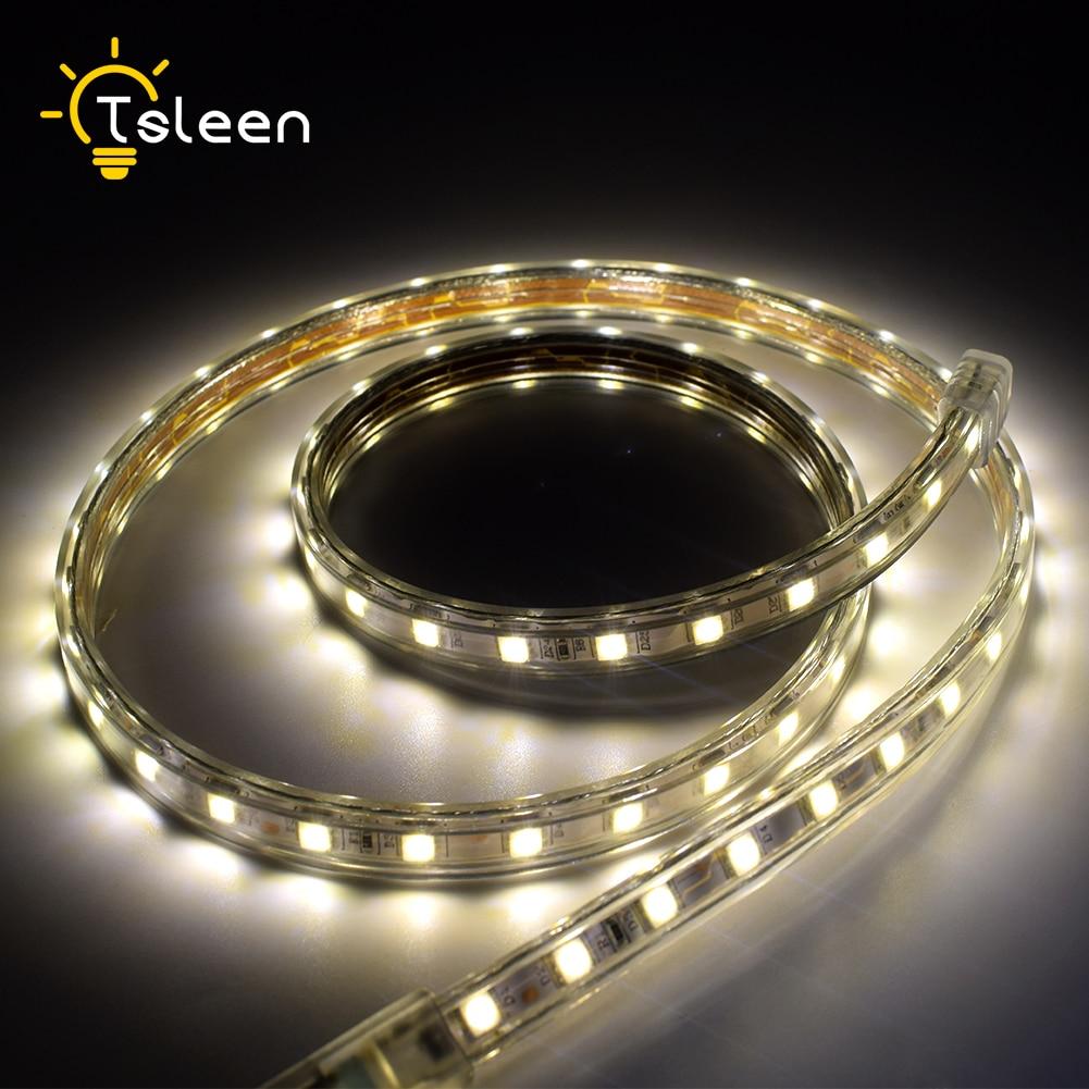 TSLEEN LED Light Strip SMD5050 Flexible Lights Neon Tape 60leds/m Cuttable Fita Led 1M-10M US EU UK Plug Warm Cool White
