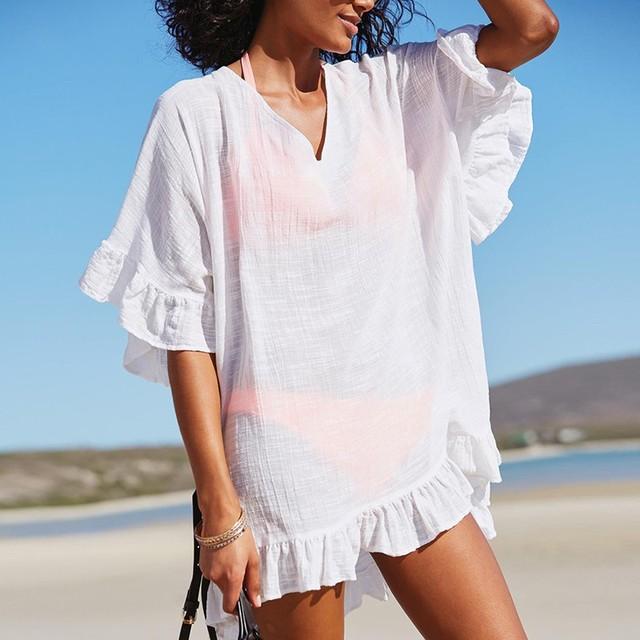d3d090b89ae 2018 Women Summer Fashion Bathing Suit Cotton Swimwear Beach Coverups For  Female Ruffle Dress Swimsuit
