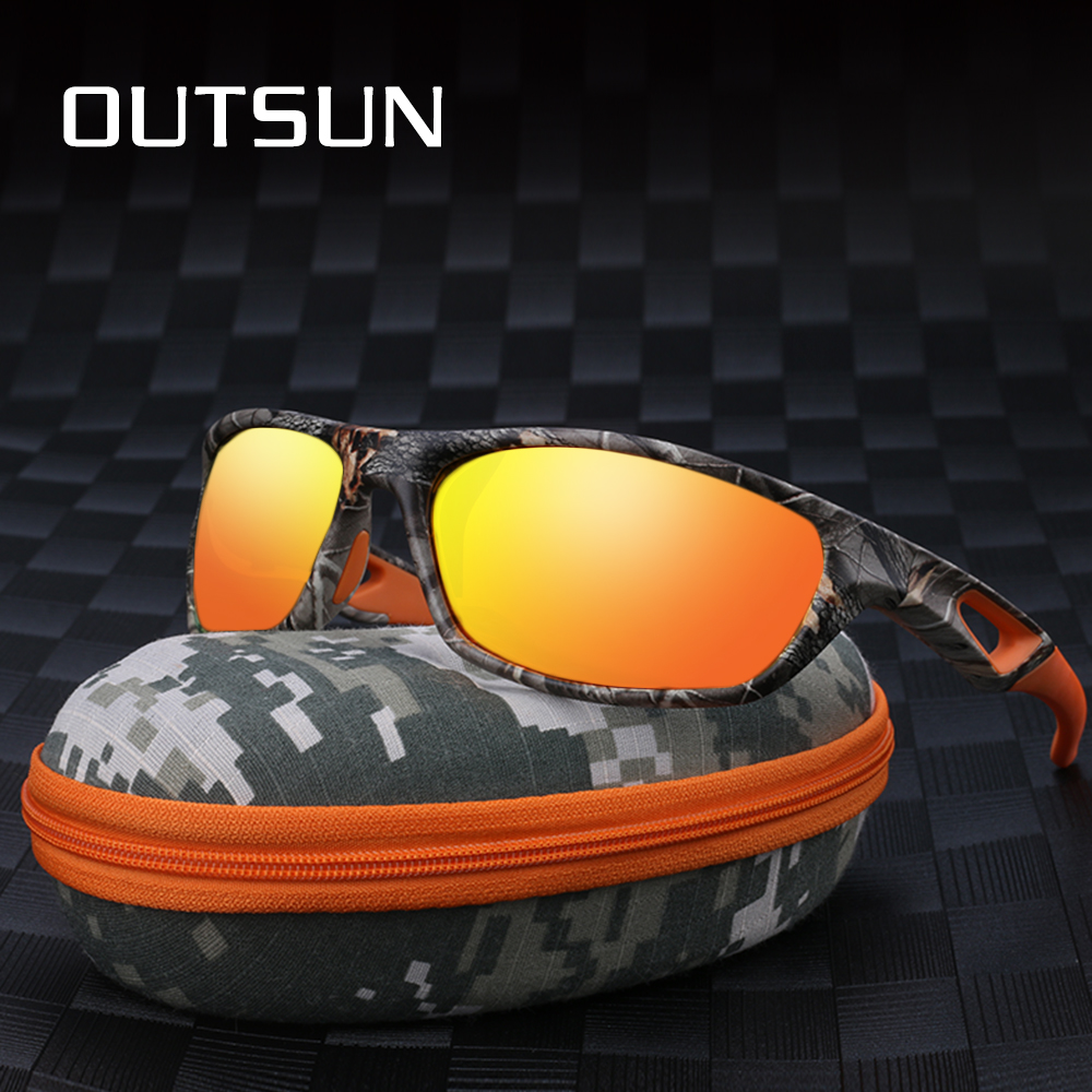 OUTSUN Men Women Polarized Sunglasses Camo Sports Fishing Eyewear TR90 Light Weight Safe protection Goggles Oculos De Sol