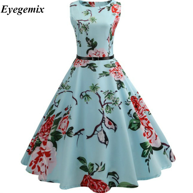 110695534b7 Summer Womens Dresses 2019 Casual Floral Retro Vintage 50s 60s Robe  Rockabilly Swing Pinup Vestidos Valentines Day Party Dress
