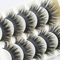 Handmade 5 Pairs Black False Eyelashes Makeup Thick Long Voluminous Fake Lashes