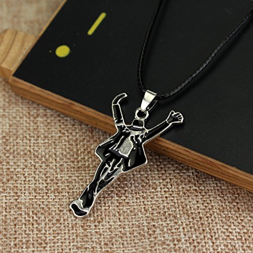 Michael Jackson Pendant Pop Star Chain Fashion Stainless Metal Necklace Waterproof Leather String