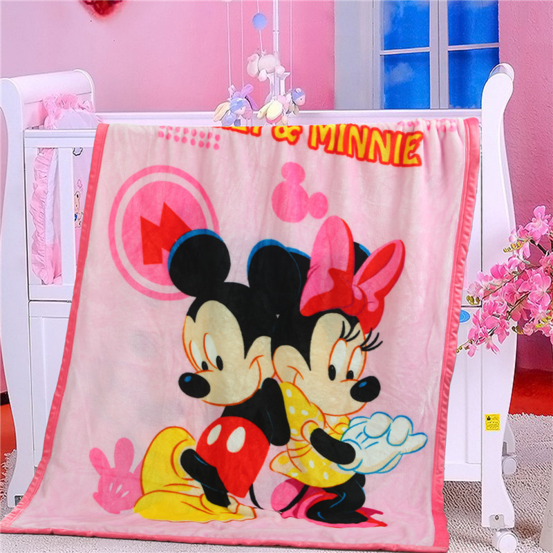 100x140cm Disney Cartoon Mickey Minnie Baby Flannel Blanket Children Coral Fleece Single Layer Baby Blanket Frozen Princess