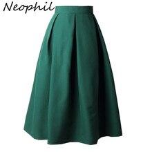 Neophil зимнее женское черное Плиссированное бальное платье Skater Midi Юбки Женские однотонные Большие размеры XXXL офисная одежда пачка Saias S8322