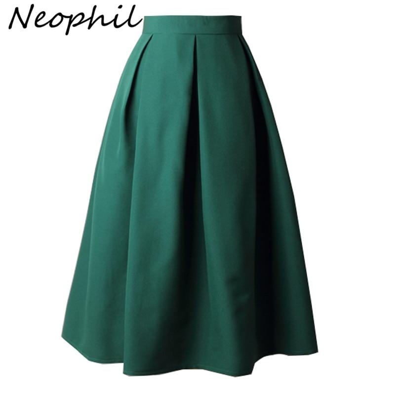 Neophil 2018 Summer Ladies Black Pleated Ball Gown Skater Midi Skirts Womens Solid Plus Size XXXL Office Wear Tutu Saias S8322