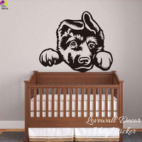 Cartoon German Shepherd Dog Wall Sticker Baby Nursery Kids Room Cute Alsatian Dog Ears Animal Decal Bedroom Vinyl Home Decor