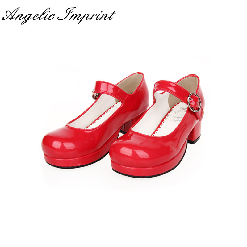 Japanese Sweet Lolita Maid Cosplay Shoes Chunky Heel School Girl Uniform Mary Jane Pumps 2018 spring sweet bow elegant lolita cosplay shoes chunky high heel pumps princess party shoes